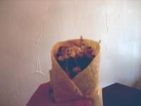 Beef and lamb tortilla kebab up close