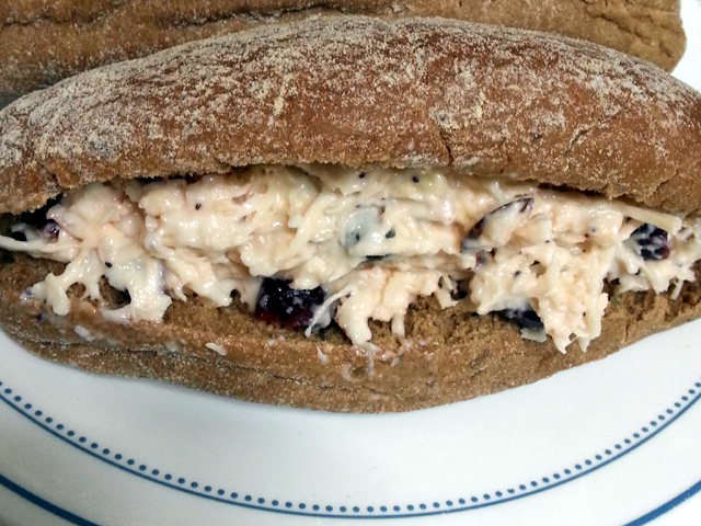 Cranberry Chicken Sandwich with Almonds and Poppyseed Dressing