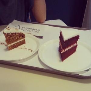 Carrot Cake and Red Velvet Cake at Glamorous Penguin