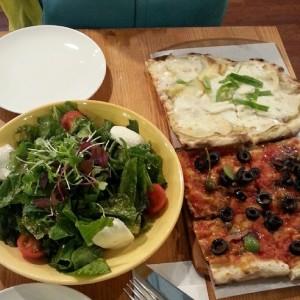 Potato pizza, Siciliana pizza, and salad at Trevia Pizza di Roma