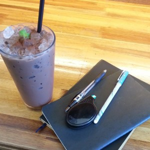 Ice Mint Chocolate, Notebooks, and Writing Utensils