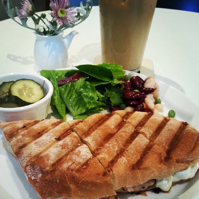 Chicken Avocado Panini and Iced Vanilla Latte at Kafe Nordic