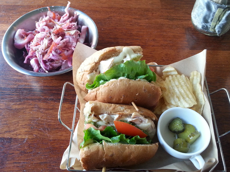 Chicken Pesto Sandwich and Tangy Coleslaw at Fat Cat
