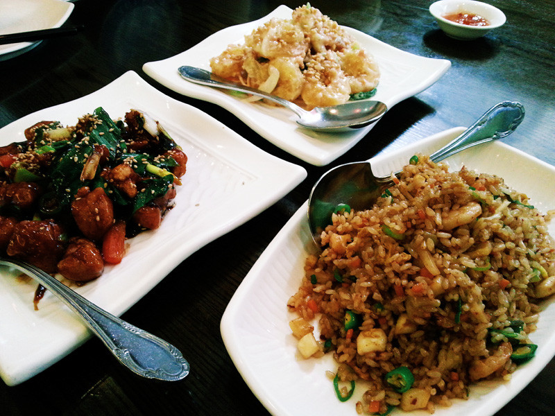 General Tso's Chicken, Mayo Shrimp, and Szechuan Fried Rice from Holee Chow