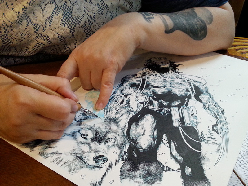 Comic Inking by Rana