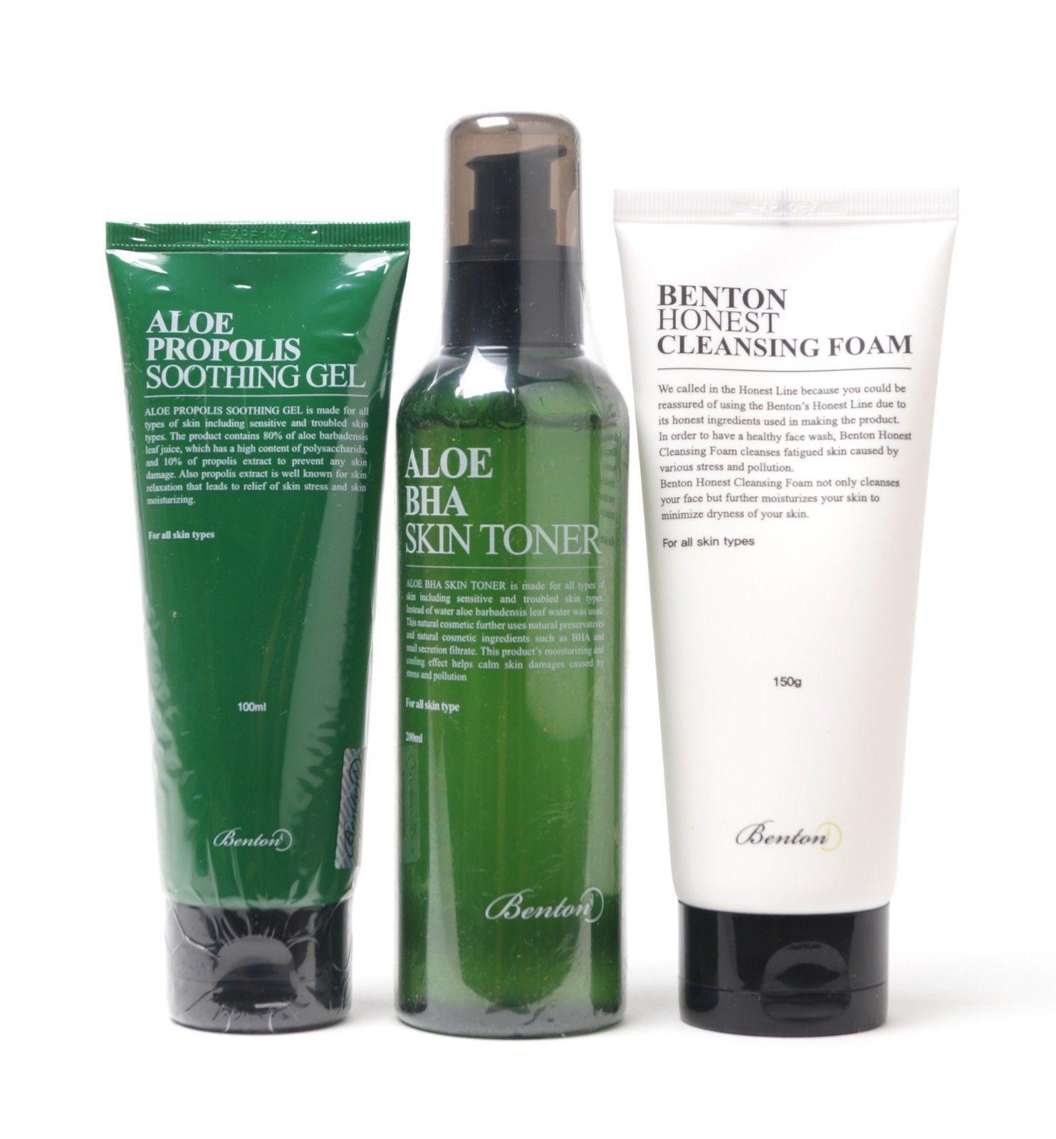Benton Cosmetics ~ Aloe Propolis Soothing Gel, Aloe BHA Skin Toner, and Honest Cleansing Foam