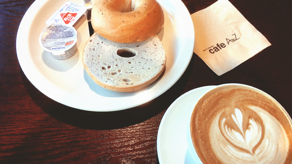 Blueberry Bagel and Latte at Cafe A to Z