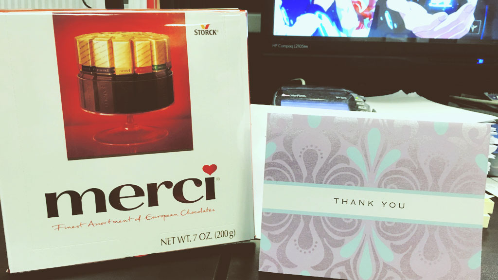 Merci Chocolate and a Thank You Card
