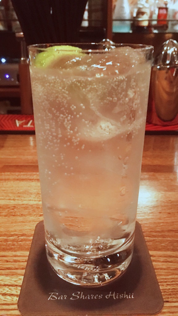 Gin and Tonic at Bar Shares Hishii
