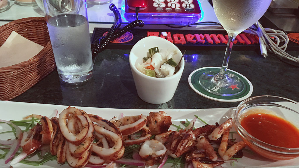 Grilled Satay Squid and Chardonnay