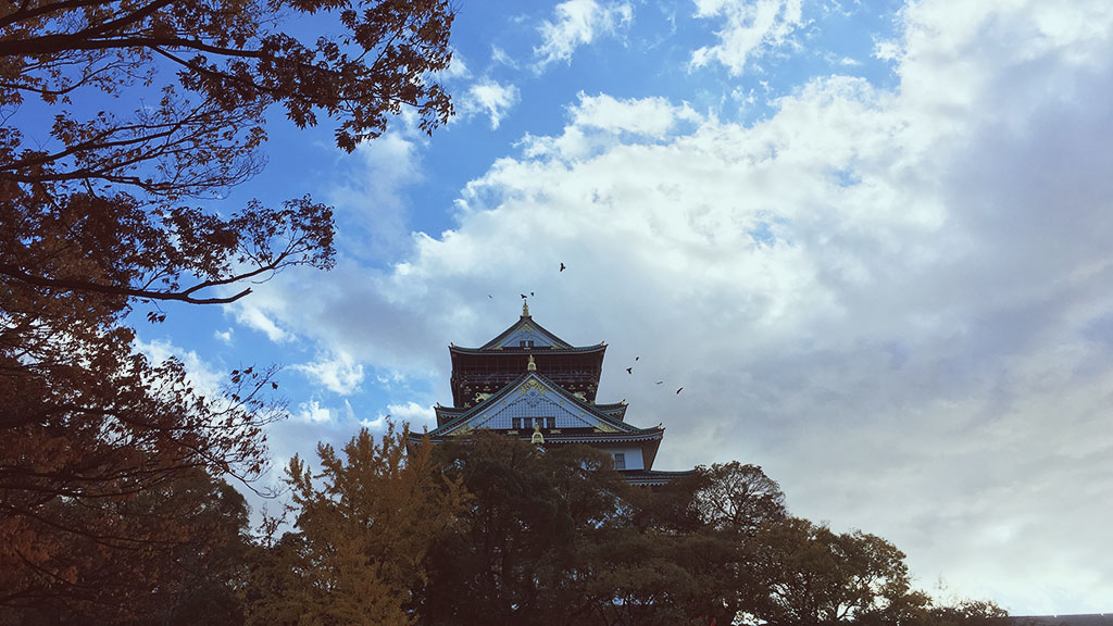 Osaka Castle with Crows