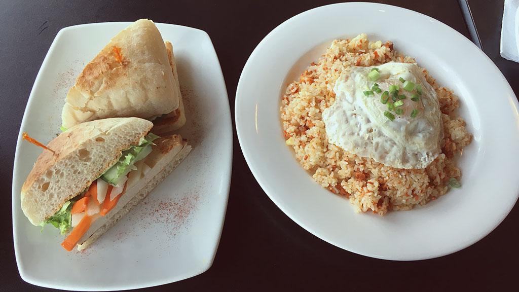 Marinated Tofu Banh Mi and Chamorro Fried Rice at Pika's Cafe
