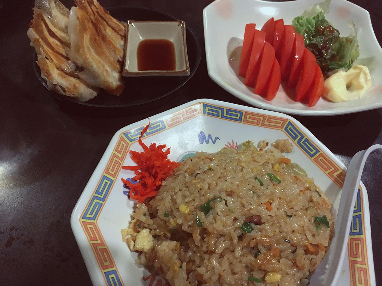 Gyoza, Tomato Salad, and Fried Rice at Izakaya